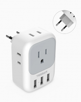 European Travel Plug Adapter with 4 Outlets 3 USB Ports(Type C Plug)