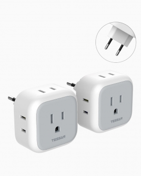 European Travel Plug Adapter with 4 Outlets, 2 Pack(Type C Plug)