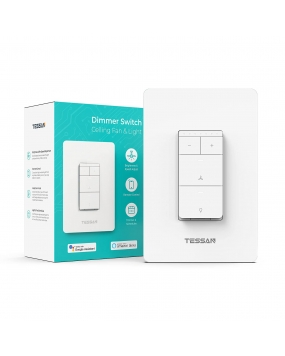 Smart Ceiling Fan Control and Light Dimmer Switch Combo, TESSAN WiFi Wall Switch for 4 Speed Fan Control
