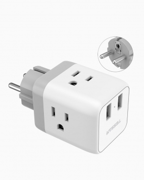 Schuko Germany France Travel Plug Adapter With 3 Outlets 2 USB Ports (Type E/F Plug)