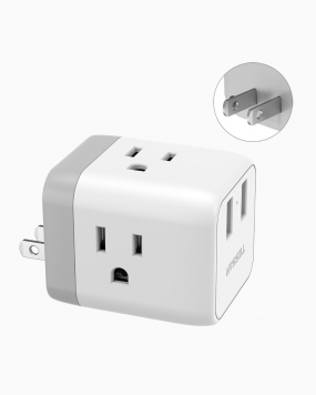 Japan Philippines Travel Plug Adapter with 3 Outlets 2 USB Ports (Type A Plug)