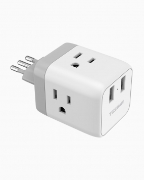 Italy Travel Plug Adapter With 3 Outlets 2 USB Ports  (Type L Plug)