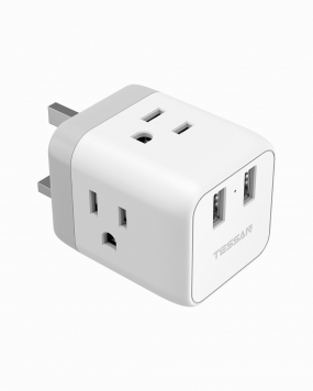 UK Hong Kong Travel Adapter with 3 Outlets 2 USB Ports (Type G Plug)