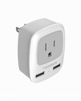 Japan Philippines Travel Plug Adapter with 2 USB Ports (Type A Plug)
