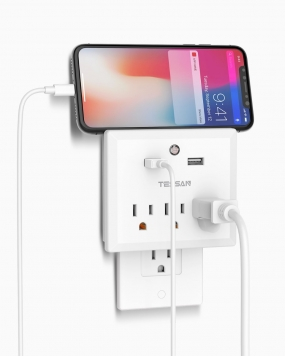 Wall Charger 3 Outlets 2 USB with Night Light